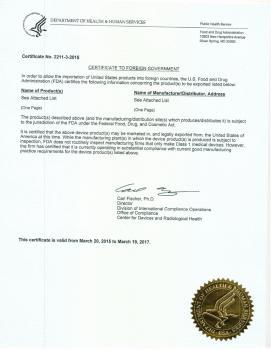 FDA - Giấy phép lưu hành sản phẩm tại Hoa Kỳ