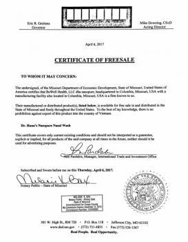 CFS - Giấy chứng nhận Nasopure lưu hành sản phẩm tại Hoa Kỳ