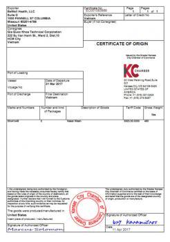 CO - Giấy chứng nhận xuất xứ do phòng thương mại Hoa Kỳ cấp